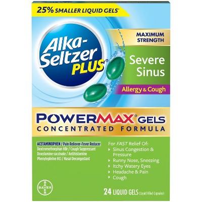 Alka-Seltzer Plus PowerMax Severe Sinus Allergy & Cough Relief Liquid Gel Capsules - Acetaminophen - 24ct