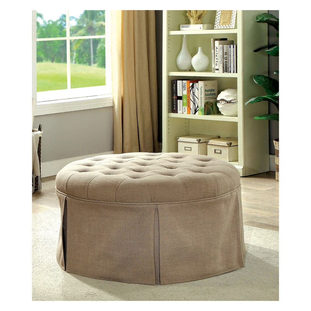 Gantt Transitional Button Tufted Fabric Storage Ottoman Brown - Homes: Inside + Out