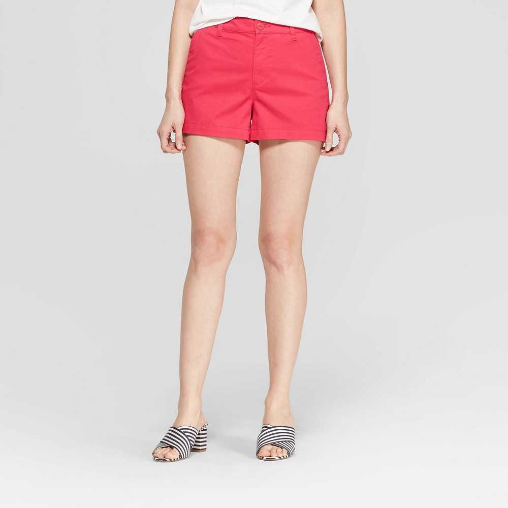 Women's High-Rise Chino Shorts - A New Day Dark Pink 16