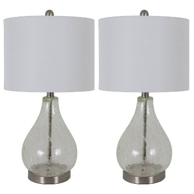 """22.5"""" Set of 2 Crackled Teardrop Table Lamp Clear - Decor Therapy"""