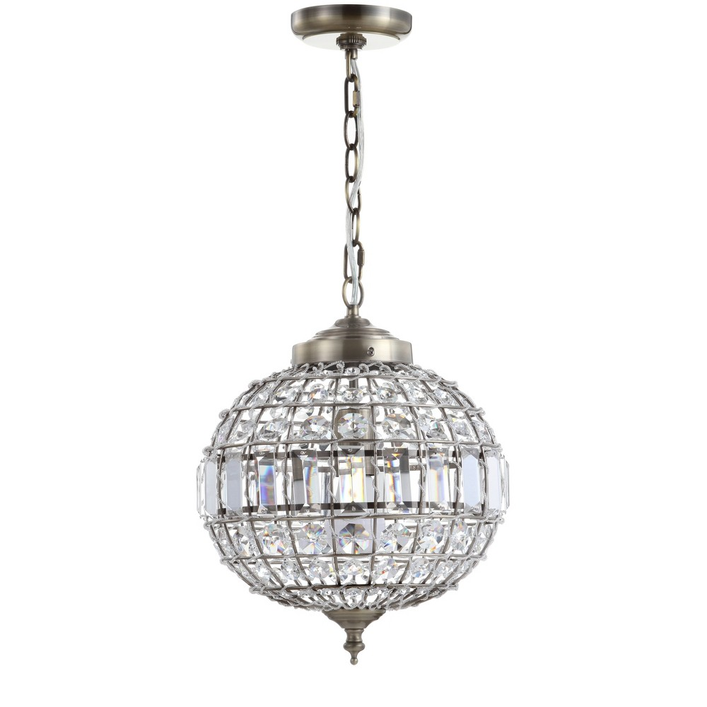 "Image of ""12"""" Georgina Crystal/Metal LED Chandelier Pendant Antique Brass - JONATHAN Y"""