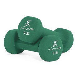 Prosource Fit 9 Pound Iron Neoprene Coated Non Slip Dumbbell Weight Set, Green