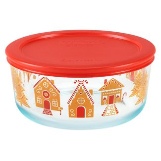 Pyrex 7cup Glass Gingerbread Village Food Storage Container Red