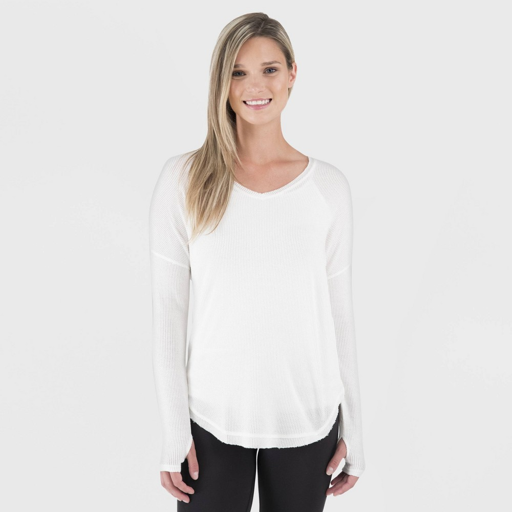 Image of Wander by Hottotties Women's Waffle Collection Lea Long Sleeve V-Neck - Ivory L, Size: Large