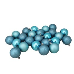 """Northlight 24ct Turquoise Blue Shatterproof 4-Finish Christmas Ball Ornaments 2.5"""" (60mm)"""