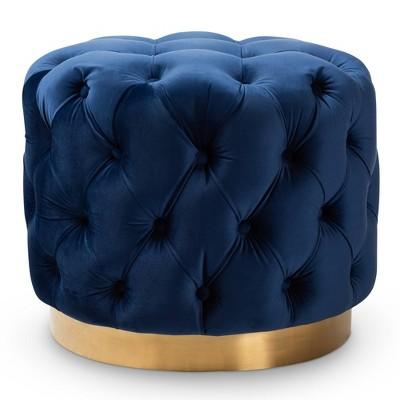 Valeria Velvet Button Tufted Ottoman   Baxton Studio by Baxton Studio