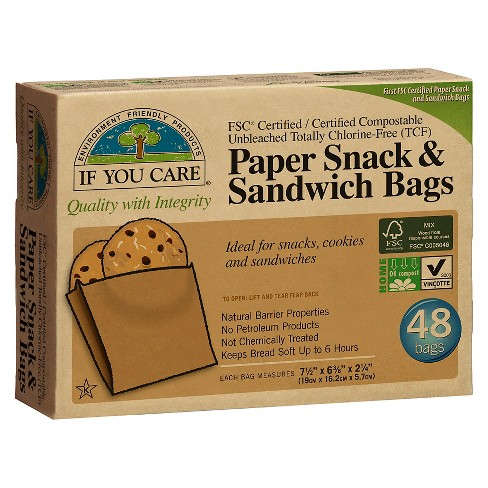 If You Care® Unbleached Chlorine Free Paper Sandwich and Snack Bags - 48ct - image 1 of 1