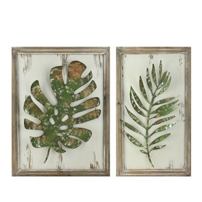 """Melrose Set of 2 Rustic and Distressed Forest Green Leaf Framed Wall Plaques 19"""""""