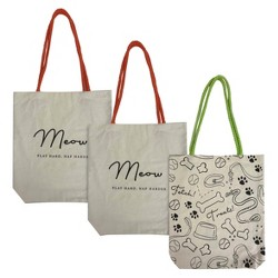 509217725 $9.00. 3pk Cat & Dog Owner Themed Canvas Tote Bags Tan - Bullseye's  Playground™