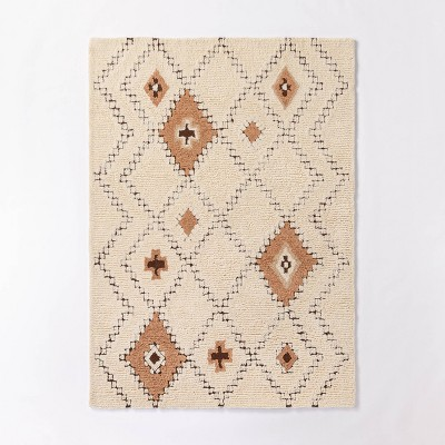 5'x7' Northridge Hand Tufted Wool Shag Diamond Area Rug Beige/Brown - Threshold™ designed with Studio McGee