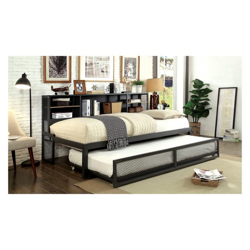 Iohomes Huskins Industrial Platform Day Bed with Trundle Gun Metal ...