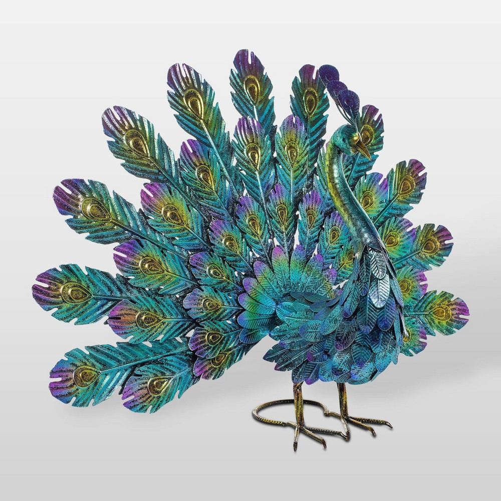 "Image of ""22"""" Metal Feather Spread Peacock Outdoor Decor Statue - Alpine Corporation"""