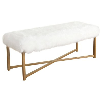 Faux Fur Rectangle Bench White - HomePop