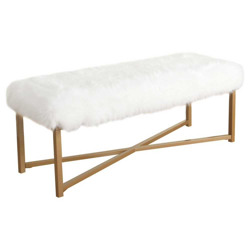 Faux Fur Rectangle Bench White Homepop