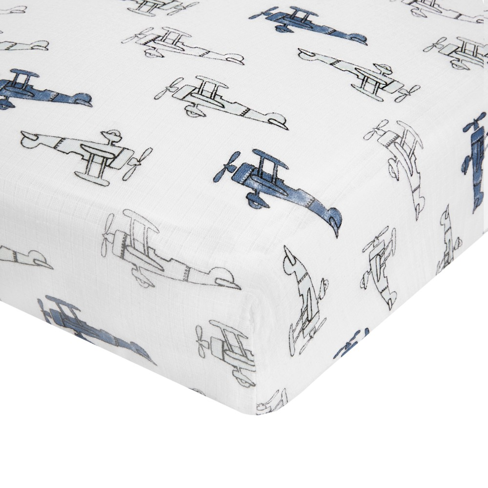 Image of Aden by Aden + Anais Crib Sheet - Sky High - Gray, Planes