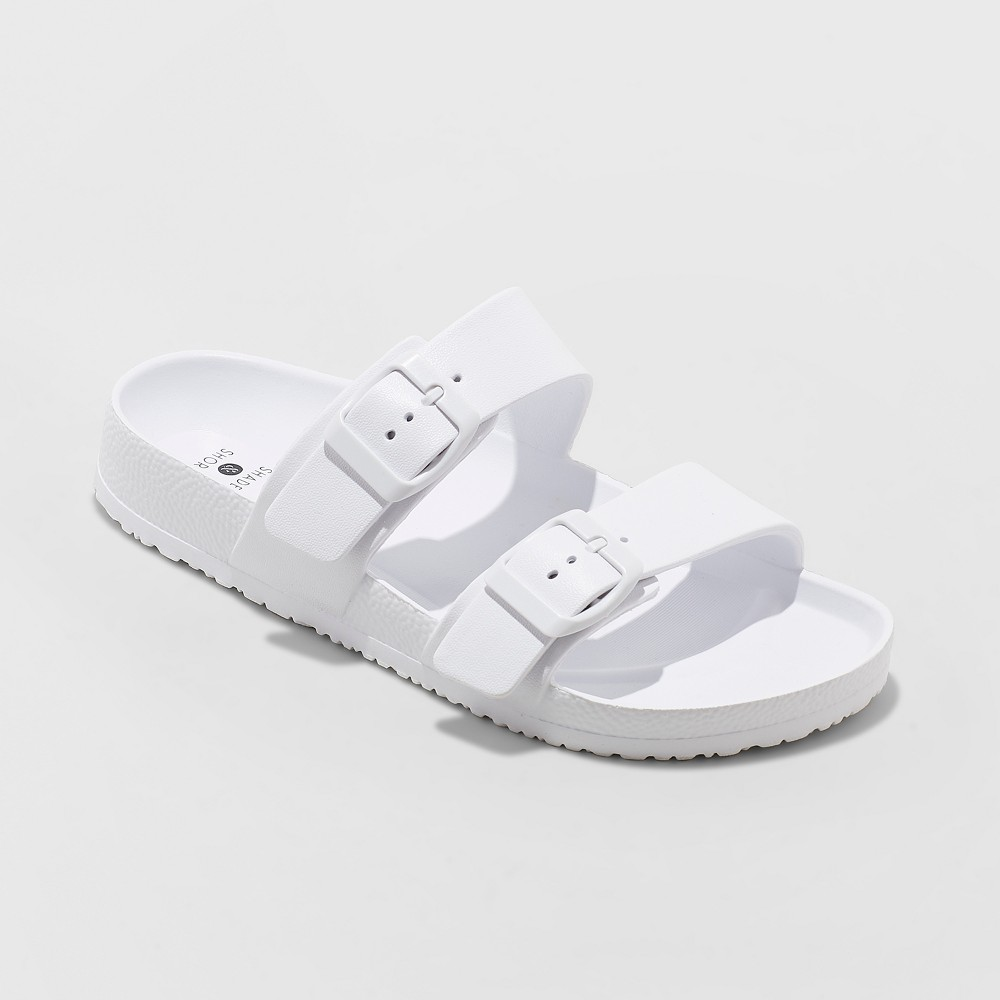 Women's Neida Wide Width Eva Two Band Slide Sandals - Shade & Shore White 8W, Size: 8 Wide
