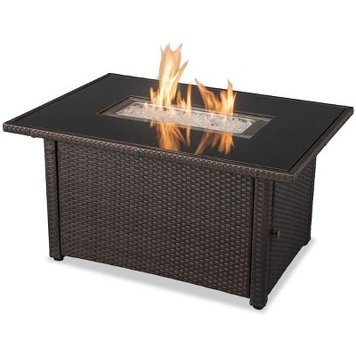 """Endless Summer 44 x 32"""" Rectangular 40,000 BTU Liquid Propane Gas Outdoor Fire Pit Table w/ White Fire Glass, Center Insert and Cover, Brown/Black"""