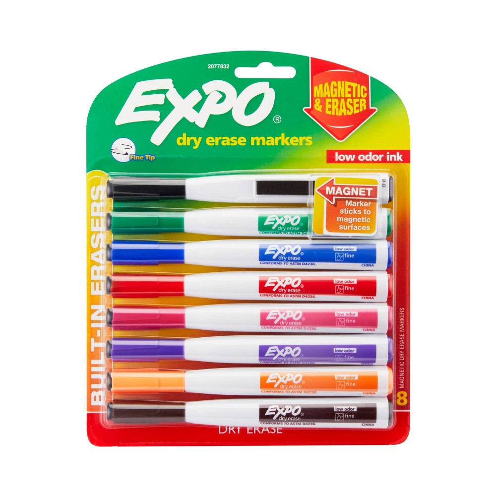 Store your markers securely on any metal surface with Expo Magnetic Dry Erase Markers with Eraser. An integrated magnet locks the Expo markers to metal-backed whiteboards and other metallic surfaces for care-free storage. What's more, the handy cap features a precise Expo eraser. Each dry erase marker also uses low-odor ink that's perfect for both the classroom and office.