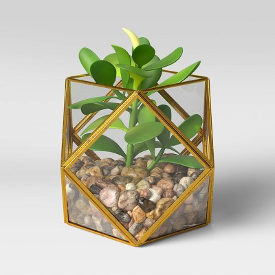 "5"" x 4"" Artificial Succulent Plant with Brass Terrarium - Opalhouse™"