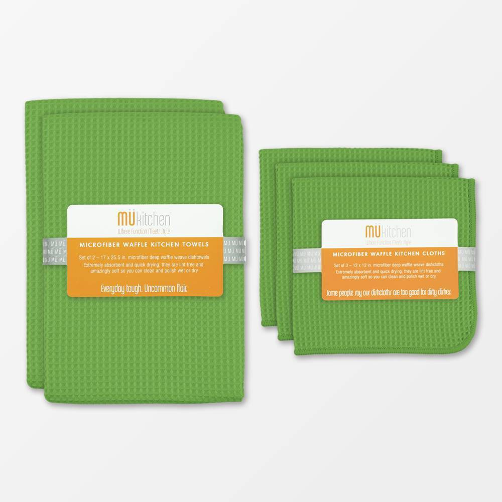 Image of Set of 5 Ultra Absorbent Microfiber Waffle Kitchen Towel And Dish Cloth Set Green - MU Kitchen