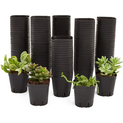 "Juvale 150 Pack Square Nursery Plastic Flower Pots for Plants, Seedlings, 2.6 x 2.6 x 2.6 """