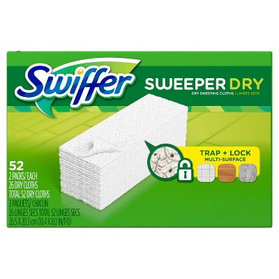Swiffer Sweeper Dry Sweeping Pad Multi Surface Refills for Dusters Floor Mop Unscented - 52ct