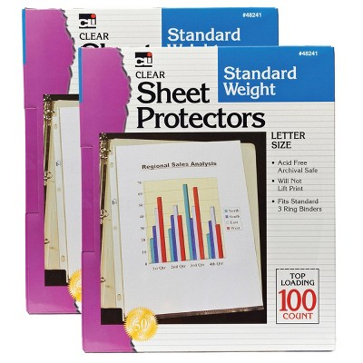 2pk 100 per Pack Letter Size Sheet Protectors Clear - Charles Leonard