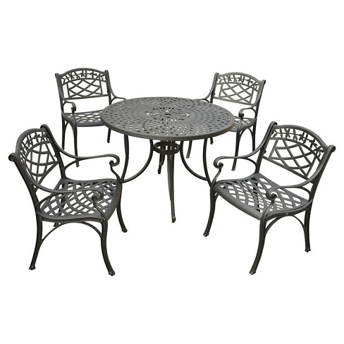 Crosley Sedona 42 Five Piece Cast Aluminum Outdoor Dining Set With Arm Chairs In Black Finish Target