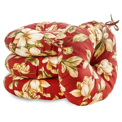 """4pk 18"""" Roma Floral Outdoor Bistro Chair Cushions - Kensington Garden"""