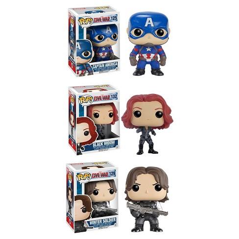 Funko Captain America 3 (Civil War) POP! Marvel Collectors Set: Captain America, Black Widow & Winter Soldier - image 1 of 4