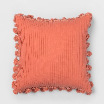 Square Solid Pillow with Fringe Coral - Opalhouse™