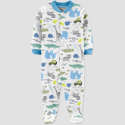 Baby Boys' Safari Sleep 'N Play One Piece Pajama - Just One You® made by carter's White/Blue Newborn