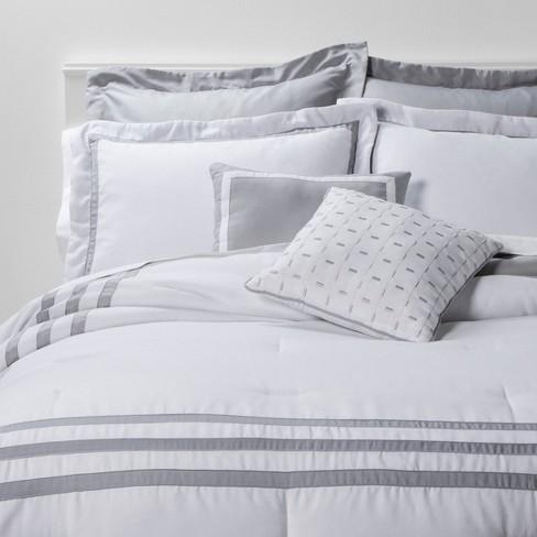 Queen 8pc Sanford Comforter Set White, Target Gray Bedding Sets