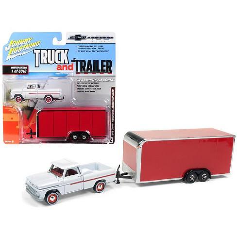 1965 Chevrolet Pickup Truck White w/ Enclosed Red Car Trailer Ltd Ed 6016 pcs 1/64 Diecast Model Car by Johnny Lightning - image 1 of 1