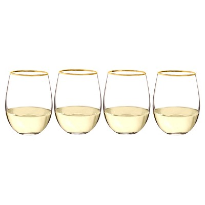 Cathy's Concepts 19.25oz Gold Rim Stemless Wine Glasses - Set of 4