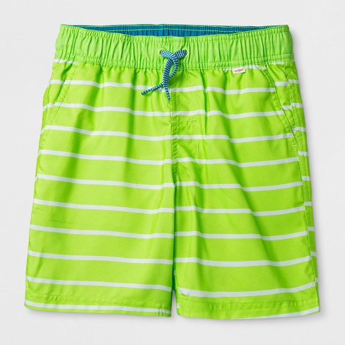 Boys' Stripe Volley Swim Trunks - Cat & Jack™ Green - image 1 of 2