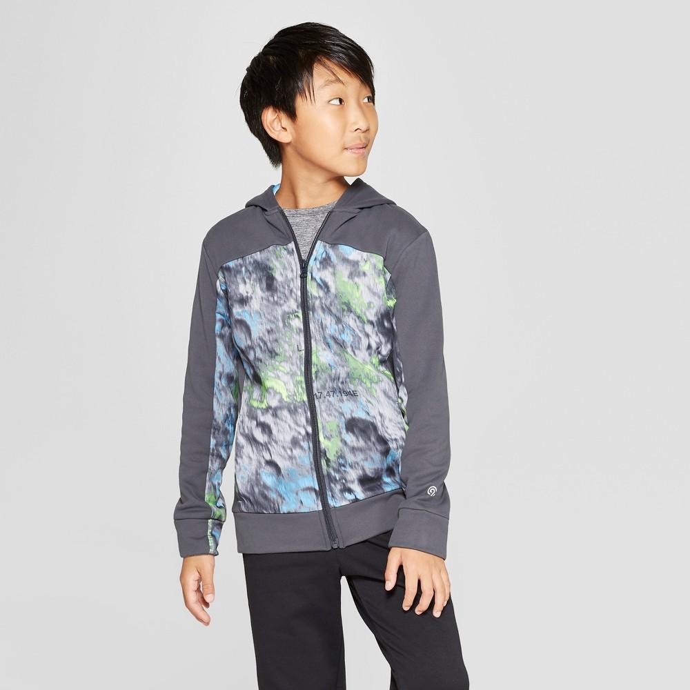 Boys' Printed Tech Fleece Full Zip Hoodie - C9 Champion Charcoal Grey Crater Print L
