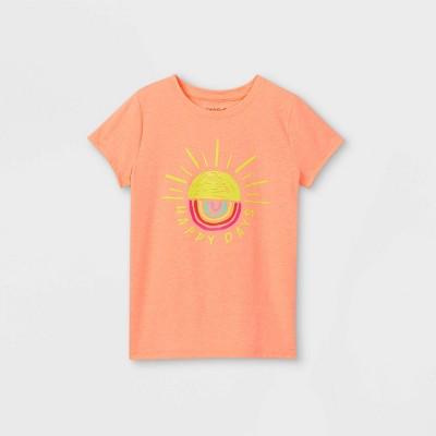 Girls' 'Happy Days' Graphic Short Sleeve T-Shirt - Cat & Jack™ Neon Peach