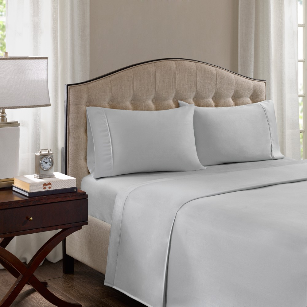 Image of Cotton Blend Pillowcases Set (King) Gray 1500 Thread Count