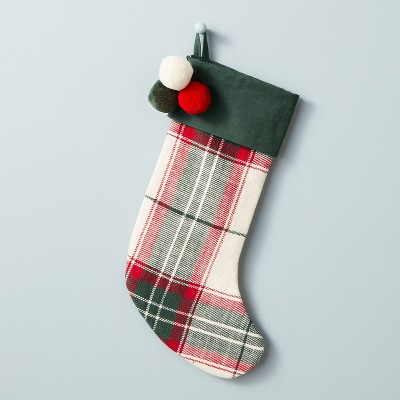 Holiday Plaid Poms Stocking Red/Green - Hearth & Hand™ with Magnolia
