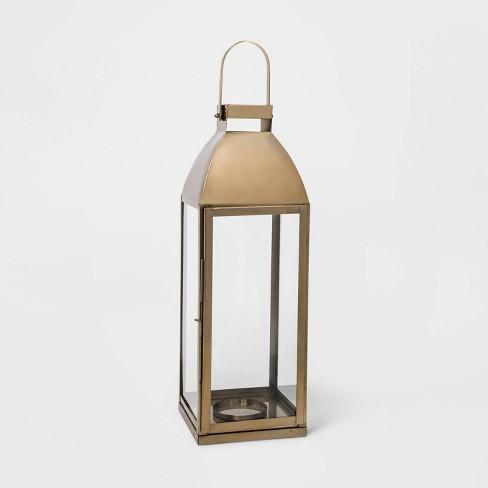"24"" x 8.2"" Brass Lantern Candle Holder Gold- Threshold™ - image 1 of 4"
