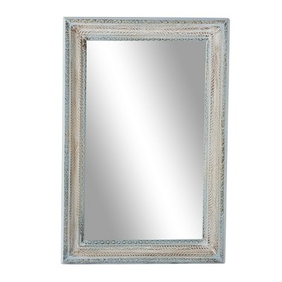 """32"""" x 48"""" Large Rectangular Distressed Wood Carved Wall Mirror White/Blue - Olivia & May"""