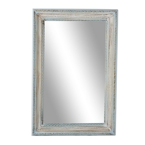 """32"""" x 48"""" Large Rectangular Distressed Wood Carved Wall Mirror White/Blue - Olivia & May - image 1 of 4"""