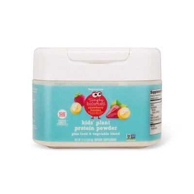Kids' Plant Protein Powder - Strawberry Banana - 12oz - Simply Balanced™