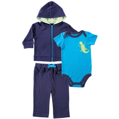 Yoga Sprout Baby and Toddler Boy Cotton Hoodie, Bodysuit or Tee Top, and Pant, Lizard Baby