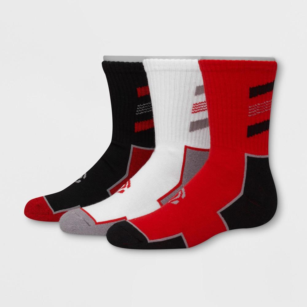 Boys' 3pk Crew Athletic Socks - C9 Champion Red M