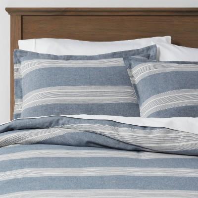 King Chambray Yarn Dye Stripe Duvet & Sham Set Blue - Threshold™