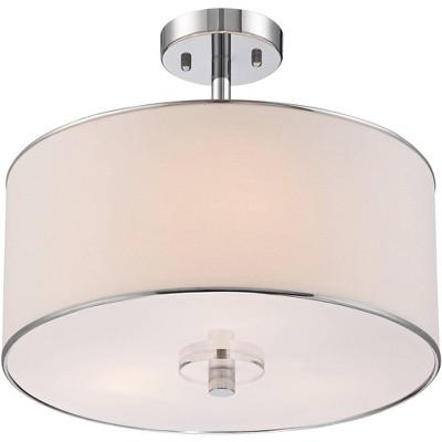 """Possini Euro Design Modern Ceiling Light Semi Flush Mount Fixture Chrome 16"""" Wide White Fabric Drum Shade for Bedroom Living Room"""