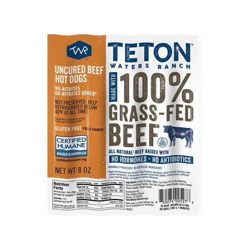 Teton Waters Ranch Uncured Beef Hot Dogs - 5ct/8oz - image 1 of 3