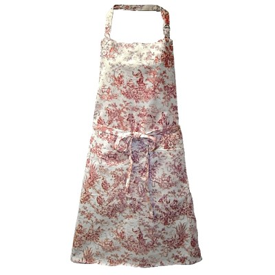 Ritz Toile Stain Resistant Decorator Tie Apron - Red